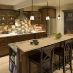 Architectural interior of craftsman style kitchen.